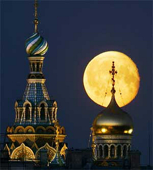 cathedral in St Petersburg and full moon