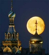 catherdral in St Petersburg and full moon